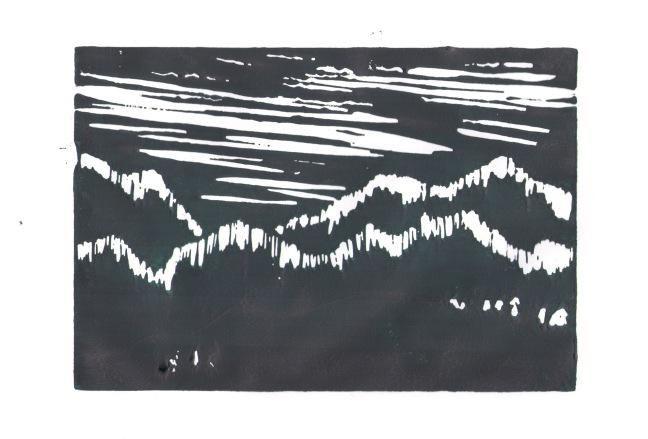 slbradley mountain linocut